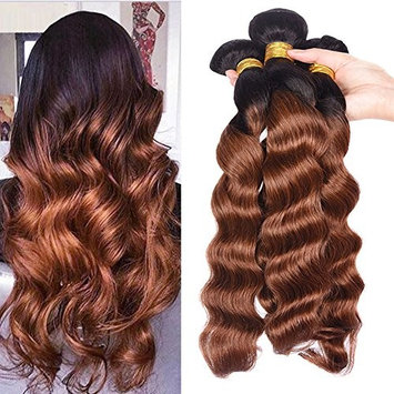 Black Rose Hair 7A Ombre Brazilian Loose Wave 4 Bundles Virgin Remy Human Hair Weave 1b/30 Ombre 2 Tone Color Loose Deep Hair Extension Black to Auburn(100g/pcs,10
