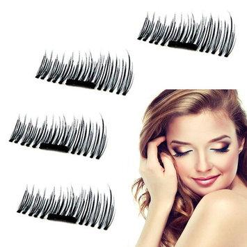 Meinaier 3D Reusable False Magnetic Eyelashes, No Glue Convenient Soft Hair Fake Eyelashes 3D Reusable Natural Look 1 pair (4 piece)