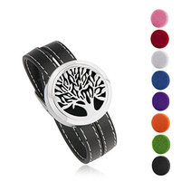 BESTTERN Tree Of Life Aromatherapy Essential Oils Diffuser Locket Bracelet-316L Stainless Steel Leather Band
