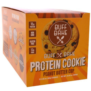 Buff Bake, Protein Cookie, Peanut Butter Cup, 12 Cookies, 2.82 oz (80 g) Each(pack of 4)