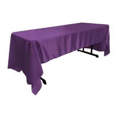 LA Linen TCbridal60X126-PurpleB23 Bridal Satin Rectangular Tablecloth Purple - 60 x 126 in.