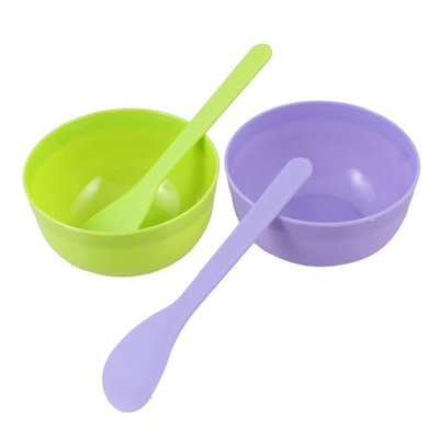 2 Sets DIY Cosmetic Floral Pattern Mask Mixer Bowl Stick Green Purple for Woman
