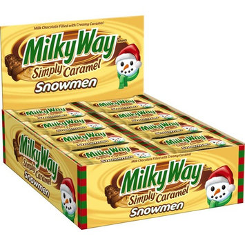 MILKY WAY Holiday Simply Caramel Chocolate Singles Size Candy Snowman 1.1-Ounce Bar 24-Count Box [MILKY WAY Simply Caramel Snowman]