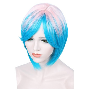 Linfairy Short Ombre Halloween Wigs For Women Pink+Blue