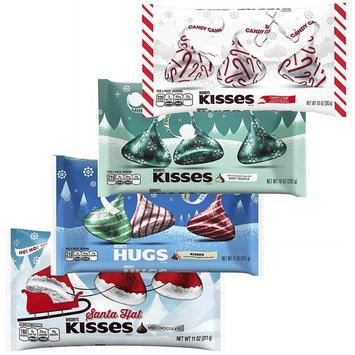 KISSES Chocolates - Santa Hat Hugs Mint Truffle Candy Cane - Milk Chocolate Variety Pack - Bulk Christmas Assortment - 10 - 11 Ounce Bag (4 Pack)...