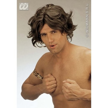 Mens JUNGLE MAN WIG BROWN Accessory for Tropical Africa India South America Fancy Dress Adults Male