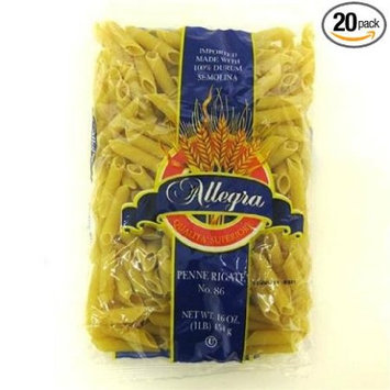Allegra Penne Rigati Pasta - Case of 20