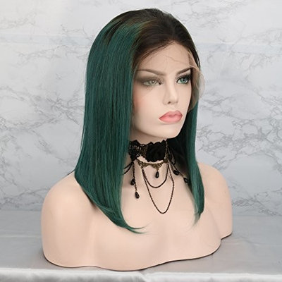 Natural Straight Brazilian Human Hair Dark Green Ombre Lace Front Wig With Baby Hair Human Hair Full Lace Wig Ombre Bob Wigs(10