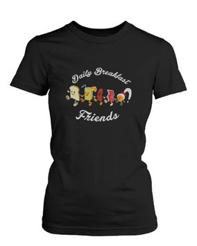 Daily Breakfast Friends Bread, Orange Juice, Sausage, Bacon and Egg Women's Tee Funny Shirt UNISEX-XLARGE