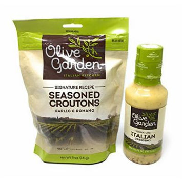 Olive Garden's Signature Italian Salad Dressing and Seasoned Croutons - Bundle