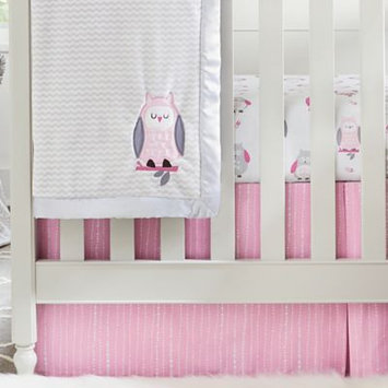 Wendy Bellissimo Mix & Match Dotted Stripe Crib Skirt in Pink