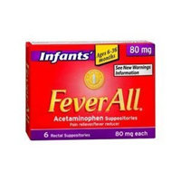 FeverAll Infants Acetaminophen Suppositories 6 Rectal Suppositories 80mg each