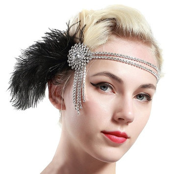 BABEYOND Vintage 1920s Flapper Headband 20s Great Gatsby Headpiece Black Feather Headband 1920s Flapper Gatsby Hair Accessories for Party Prom