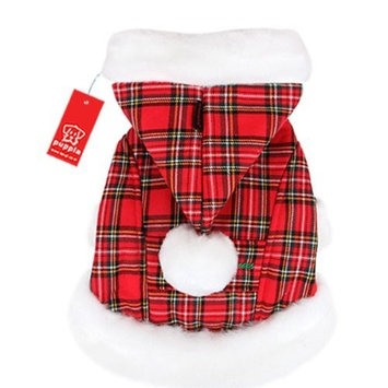 Puppia Santa Claus Winter Coat, Small, Checkered Red