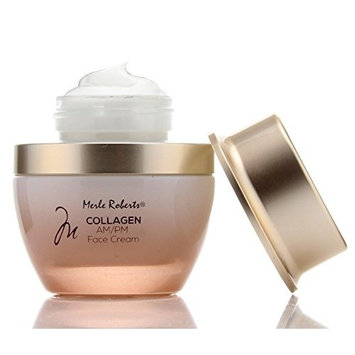 Merle Roberts Day and Night Face Cream with Collagen. Anti-Aging face cream for Wrinkles, Fine Lines, Uneven Skin Tone, and Dry Skin. 1 fl oz (30ml) jar.