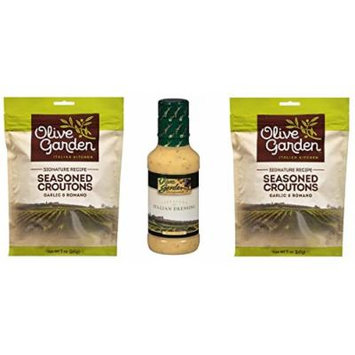 Olive Garden Italian Salad Dressing and Seasoned Croutons Variety Bundle
