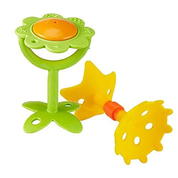 Innobaby Original Teethin' Smart EZ Grip Teether and Sensory Toy Assortment for Babies and Toddlers. BPA Free Teether - 2 Pack Teether Bundle (Green/Yellow)