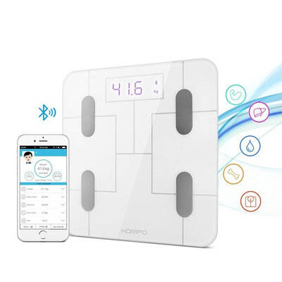 Body Fat Scale, HOMPO Bluetooth Digital Bathroom Smart Wireless Body Fat Analyzer Scale with Smartphone App & LED Display, Measures BMI, Body Fat, Muscle Mass, Water Weight, and Bone Mass