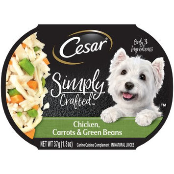 Mars Petcare CESAR SIMPLY CRAFTED Adult Wet Dog Food Cuisine Complement â Chicken, Carrots and Green Beans, 1.3 Ounce Tub