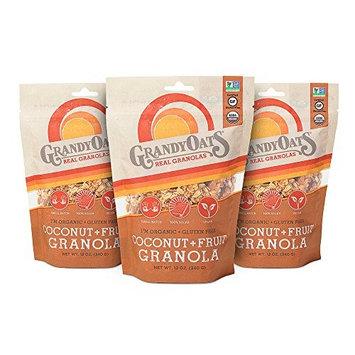 GrandyOats Organic Gluten Free Coconut with Fruit Granola, 12 oz, 3 Count [Coconut with Fruit Granola]
