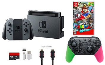 Nintendo & Ushopmall Nintendo Switch Bundle (6 items): 32GB Console Gray Joy-con, Nintendo Switch Pro Controller Splatoon 2 Edition, Game Disc Super Mario Odyssey, 128GB Micro SD Card, Type C Cable