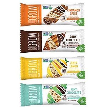 Go Raw Organic Gluten-Free Vegan Sprouted Grow Protein Bars 4 Flavor Sampler Bundle: (1) Cinnamon Spice, (1) Dark Chocolate, (1) Zesty Lemon, & (1) Mint Chocolate, 1.9 Oz Ea (4 Bars)