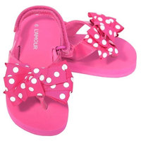 L'Amour Fuchsia Polka Dot Bow Wedge Flip Flop Sandal Toddler Girl 5-10