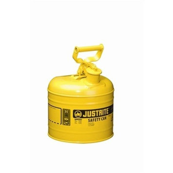 Justrite 7125200 Type I Galvanized Steel Diesel Fuel Safety Can, 2.5 Gallon Capacity, Yellow