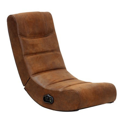 Ace Bayou Corp 2.0 Audio X Rocker Gaming Chair in Distressed Brown Suede