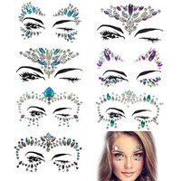 Kapmore 7 Sheets Face Jewelry Removable Sticker Rhinestone Tattoo for Show