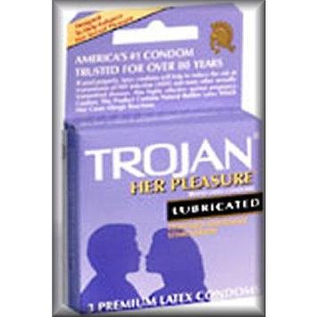 Trojan Her Pleasure Premium Lubricated Latex Condoms - 3 Pack