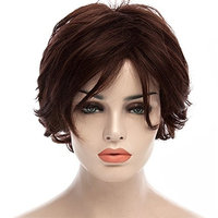 Aibelly Synthetic Curly Hair Wigs Western Style Fluffy Short Wavy Side Bang Noble Stylish Dark Brown Hair Wig Fashion Women's Capless Wig Heat Resistance Fiber