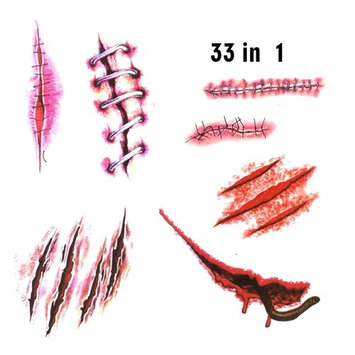 Temporary Tattoos Sticker Halloween party Make up 4 in 1 set (b)