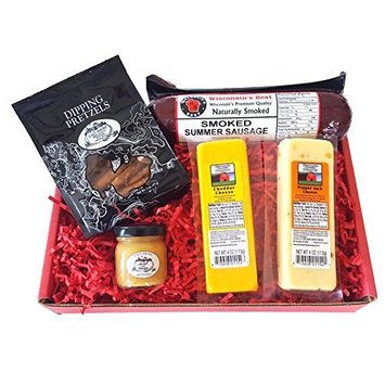 Wisconsin's Best and Wisconsin Cheese Company Cheese and Sausage Classic Gift Basket, 5 pc