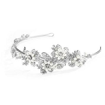 Soft Cream Pearl and Crystal Botantical Bridal Headband