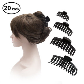 HBY Set of 8 Plastic Small and Large Black Hair Claws Clips for Women