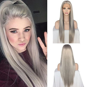 QD-Udreamy Platinum Grey Silky Straight Synthetic Hair Heat Resistant Lace Front Wigs Hand Tied Wigs for Women 24 Inch