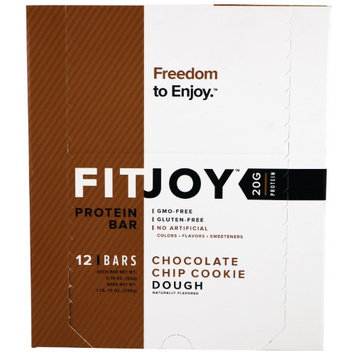 FITJOY, Protein Bar, Chocolate Chip Cookie Dough, 12 Bars, 2.18 oz (62 g) Each(pack of 3)