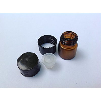 1/4 Dram (1ml) AMBER Glass Vial (144)- Flat Black Screw Cap w/ Orifice Reducer and Seal - Pack of 144