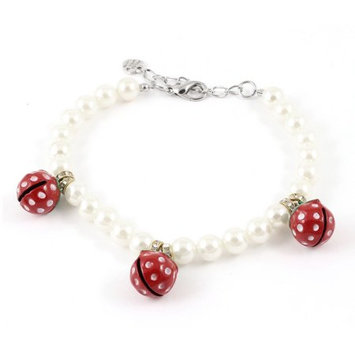 Lobster Clasp Three Bell Accent Off White Faux Pearl Linked Pet Dog Necklace M
