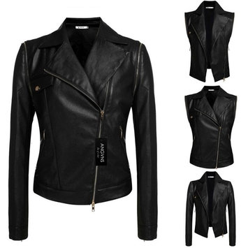 Women Fashion Lady Cool Detachable Sleeve PU Leather Bike Jacket Coat Outerwear VAF