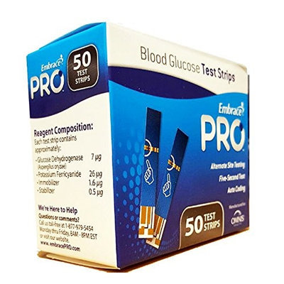 Omnis Health ALL02AM0202 EmbracePRO Blood Glucose Test Strips 50 count Vial
