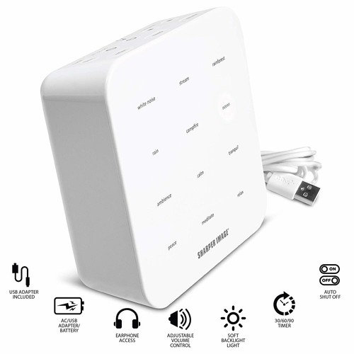 SHARPER IMAGE Ultimate Sleep White Noise Sound Machine for Adults and Baby, Portable Relaxing Music and Nature Sounds Therapy, Aids Sleeping, Stress and Anxiety Relief [New 2019 USB Version]