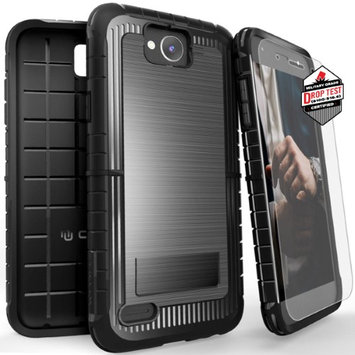 Zizo Wireless LG X Power 2 LV7 Case, CLICK CASE [Dynite Cover] w/FREE [Tempered Glass LG X Power 2 LV7 Screen Protector] Heavy Duty [Anti-Grip Slip]-LG X Charge