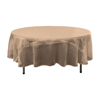 Funflags TCOrgz72R-BrownO22 Sheer Mirror Organza Round Tablecloth Brown - 72 in.
