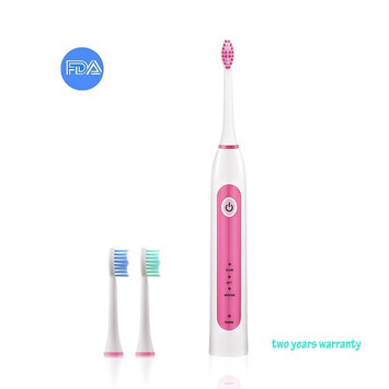 Electric Toothbrush Sonic 37000 Strokes Wireless Rechargeable Waterproof with Replaceable Soft Bristles 3 Brushing Modes 2 Minutes Timer 28 Days Power (pink)