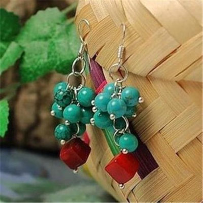 Merit 10343 Tibetan Style Turquoise Coral Earrings