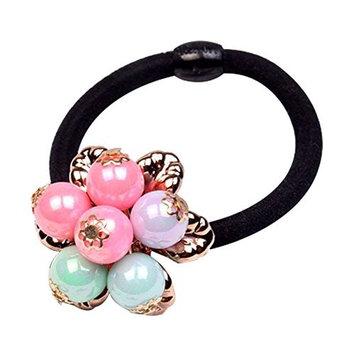 Sweet Girls Faux Pearls Flower Elastic Hair Ties Ponytail Holder Party Wear