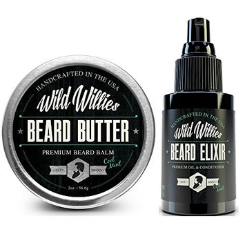 Beard Oil and Balm Conditioner Cool Mint - Mens Gift Set Developed For Beard and Mustache Growth Softens and Prevents Itchy Dry Skin. Made in the USA with Locally Sourced Essential Oils.