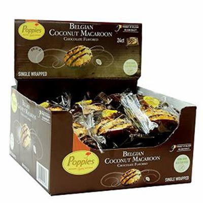 Poppies Belgian Chocolate Flavored - Coconut Macaroons- Box of 24